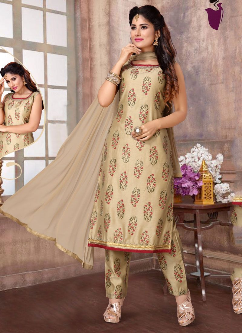 Beige Embroidered Readymade Suit