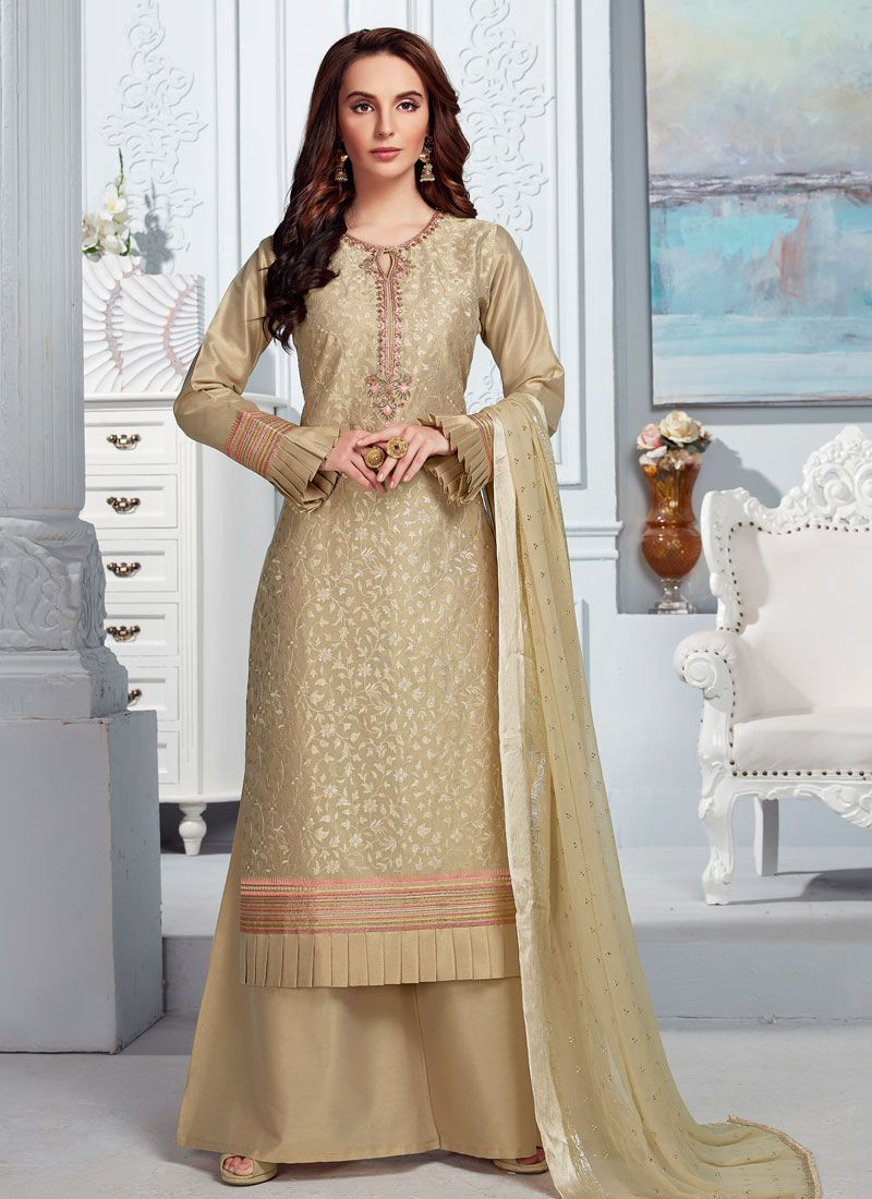 Beige Embroidered Reception Palazzo Salwar Suit