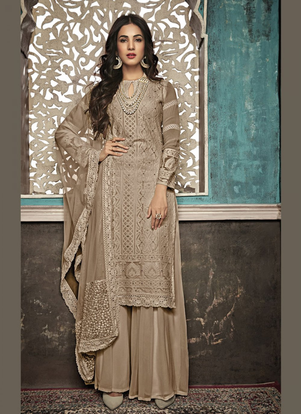 Beige Embroidered Salwar Suit