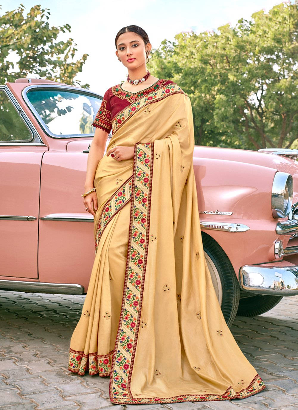 Beige Embroidered Sangeet Trendy Saree