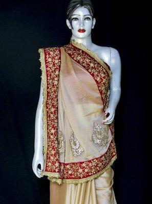 Beige Embroidered Satin Designer Saree
