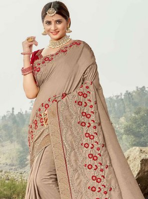 Beige Embroidered Silk Contemporary Saree