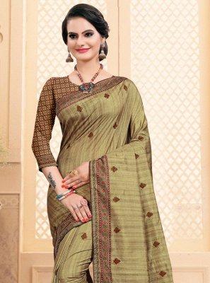 Beige Embroidered Silk Contemporary Saree