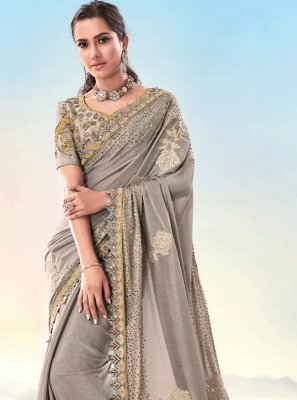 Beige Fancy Fabric Resham Designer Saree