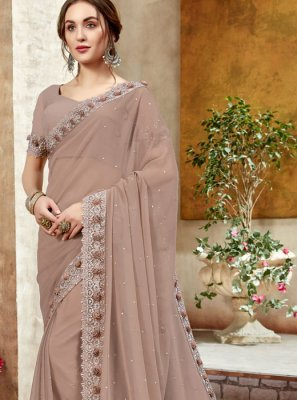 Beige Faux Georgette Reception Classic Designer Saree