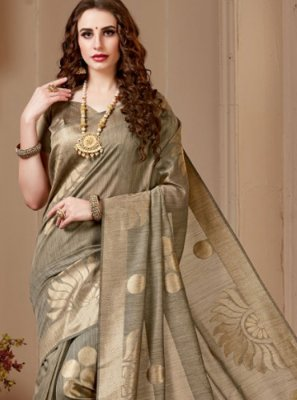 Beige Festival Cotton Silk Traditional Saree