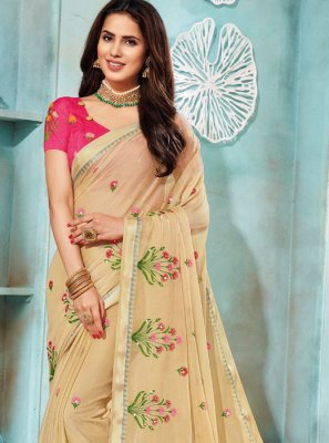 Beige Festival Faux Chiffon Contemporary Saree