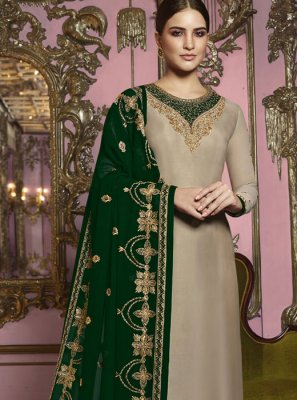 Beige Festival Georgette Satin Churidar Suit