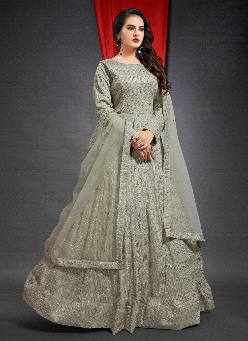 Beige Floor Length Gown