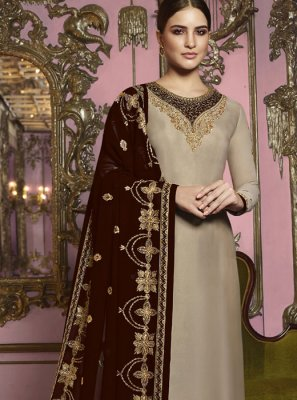 Beige Georgette Satin Churidar Designer Suit