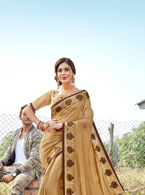 Beige Georgette Satin Classic Saree