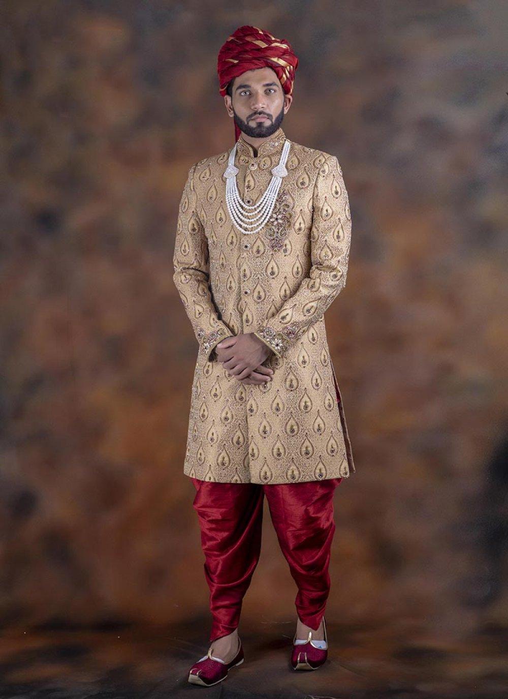 Beige Jacquard Embroidered Indo Western Sherwani