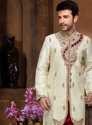 Beige Jacquard Silk Wedding Sherwani