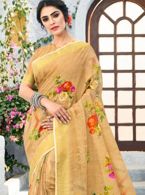 Beige Linen Casual Casual Saree