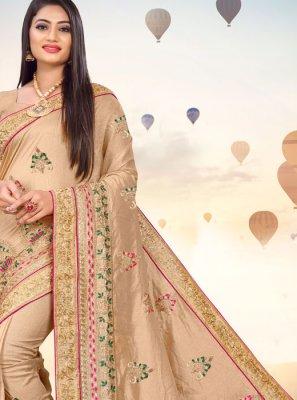 Beige Mehndi Silk Saree