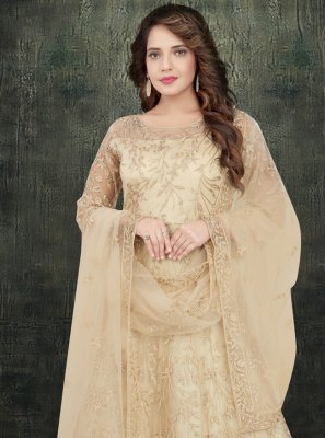Beige Net Anarkali Salwar Kameez
