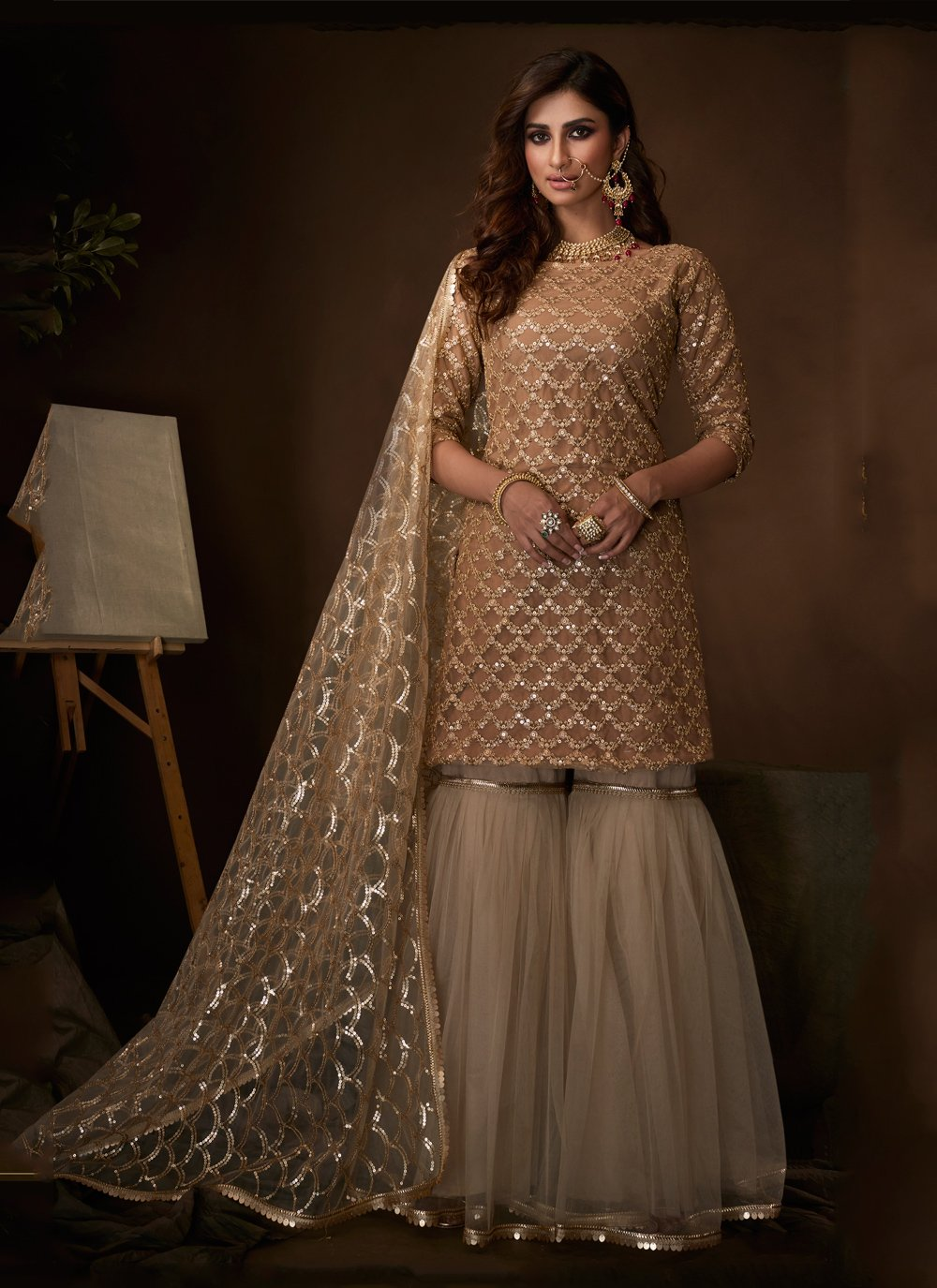 Beige Net Ceremonial Salwar Suit