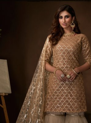 Beige Net Ceremonial Salwar Suit