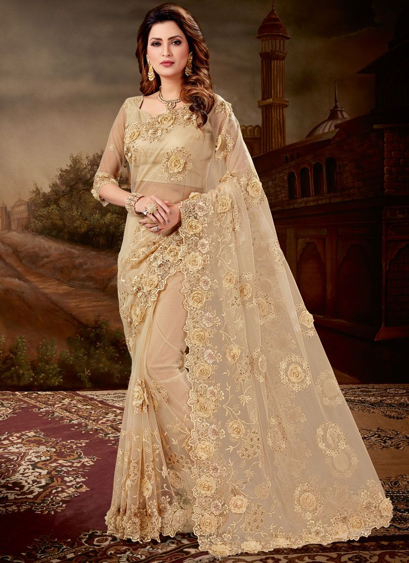 Beige Net Embroidered Designer Saree