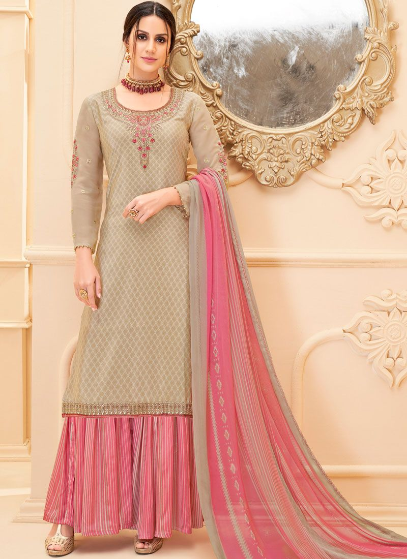 Beige Party Faux Crepe Salwar Suit