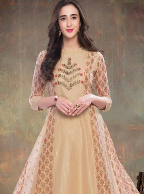 Beige Party Party Wear Kurti