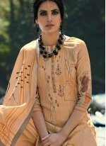 Beige Pashmina Party Trendy Palazzo Suit