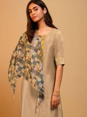 Beige Plain Silk Designer Kurti