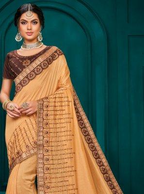 Beige Poly Silk Classic Saree