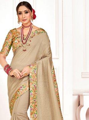 Beige Poly Silk Embroidered Designer Saree