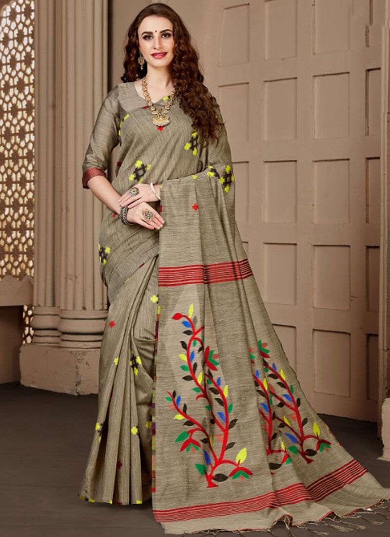 Beige Print Ceremonial Designer Traditional Saree