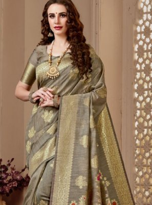 Beige Print Designer Traditional Saree