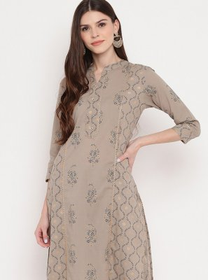 Beige Printed Party Casual Kurti