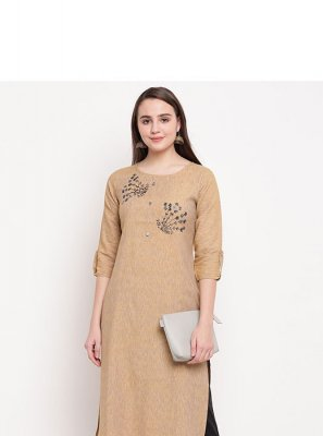 Beige Printed Rayon Party Wear Kurti