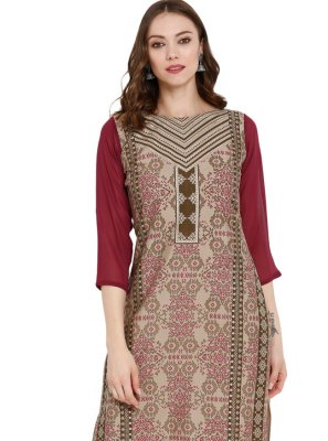 Beige Pure Crepe Printed Party Wear Kurti