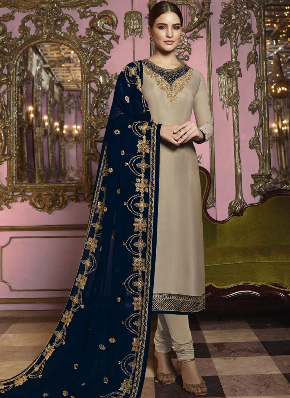 Beige Reception Churidar Salwar Suit