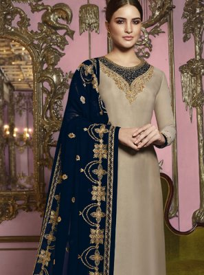Beige Reception Churidar Salwar Suit