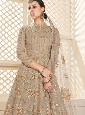 Beige Resham Faux Georgette Desinger Anarkali Salwar Kameez