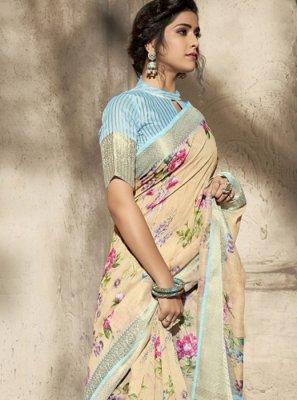 Beige Sangeet Printed Saree