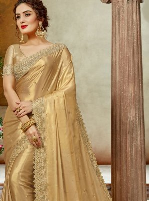 Beige Satin Silk Embroidered Silk Saree