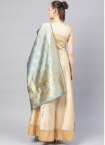 Beige Silk Anarkali Salwar Suit
