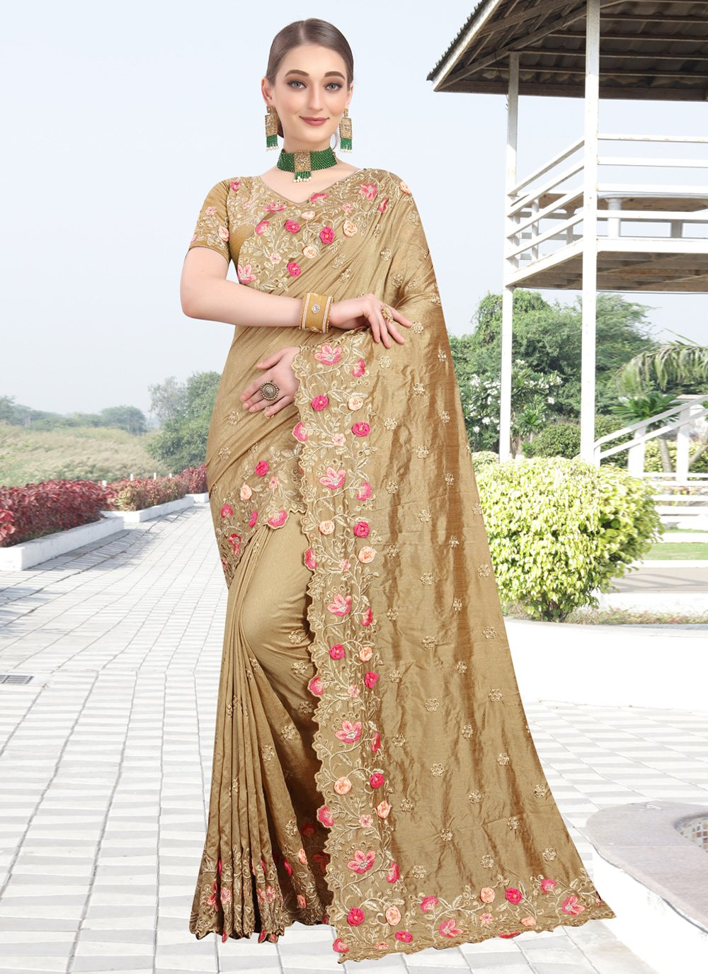 Beige Silk Embroidered Designer Bollywood Saree