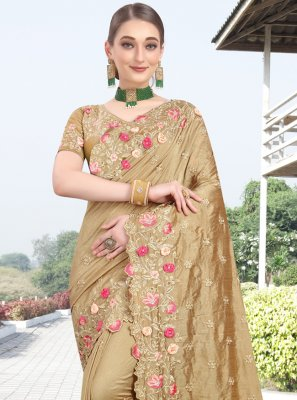 Beige Silk Embroidered Designer Bollywood Saree