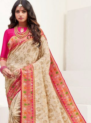 Beige Silk Festival Traditional Saree