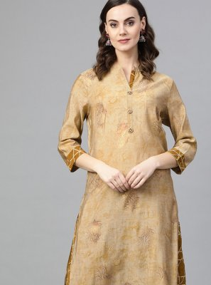 Beige Silk Party Wear Kurti
