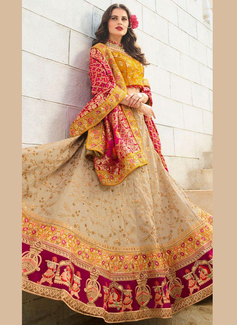 Beige Silk Trendy Lehenga Choli