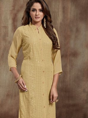 Beige Thread Casual Kurti