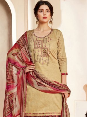 Beige Thread Sangeet Salwar Suit