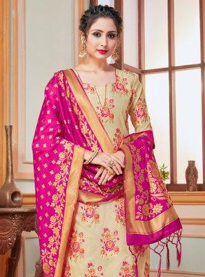 Beige Weaving Salwar Kameez