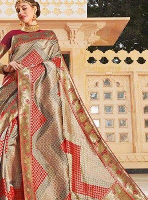 Beige Weaving Traditional Saree