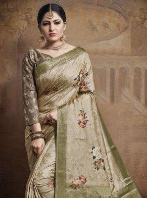 Beige Weaving Wedding Designer Bollywood Saree